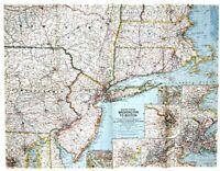 ⫸ 1962-8 Vintage Map of Washington to Boston – National Geographic Society