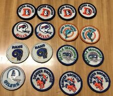 Lot of 16 Vintage 1970s NFL Patches Broncos Dolphins Seahawks Rams Oilers Bills