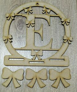 MDF Personalised Initial Bow Holder (XL) - Embellish, Pain, Colour, DIY