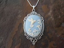 "925 Plated Chain- Quality *Hummingbird Cameo Necklace 2"" (hummingbird/blue)"