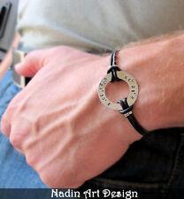 Washer Men's Bracelet. Personalized Unisex Bracelet. Adjustable Leather Cord