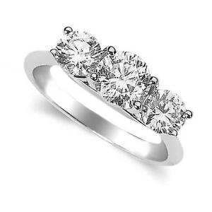 Three Stone Diamond Ring in 14 White or Yellow Gold SI1 Clarity G-H Colour