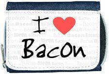 I Love Heart Bacon Denim Wallet