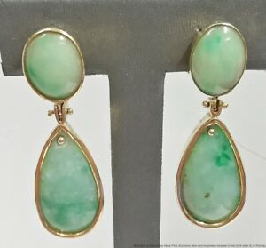 Stunning Vintage 1940s Jadeite Jade 14K Gold Long Drop Earrings Omega Backs