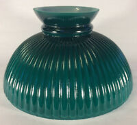 "New 10"" Opal Glass Ribbed Student Lamp Shade With Dark Green Painted Background"