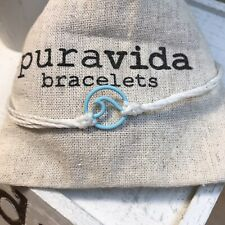 NEW! Puravida Matte Aqua Blue Enamel Wave Charm On White Adjustable Bracelet