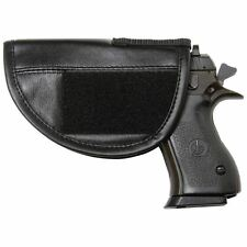 Black Leather GUN HOLSTER Hidden Mount Soft Storage Pistol Case Hand Carry Pouch