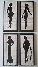 Silhouette Ladies 4 wall decor plaques black white signs vintage dress pictures