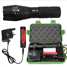5000LM Tactical T6 Zoomable LED Flashlight Rechargeable Adjust Torch Lamp Set UK