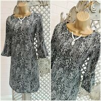 LIPSY  UK 12 Grey Silver Animal Snakeskin Print Flared Sleeve Shift Dress