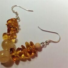 Baltic Amber Earrings Silver,Citrine Bar Dangle Drop Earrings
