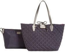 New Guess Bobbi Inside-Out nylon Set Reversible Bag Quilted Grey pink tote