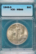 1945-D ICG MS66 Walking Liberty Half Dollar!! #A6048