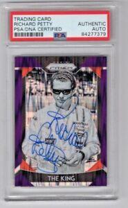 2019 Panini Prizm NASCAR Purple Prizm Richard Petty Signed Auto Card #40 PSA/DNA