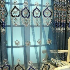 Embroidery Blackout Curtain European Luxury Chenille Drape Bay Window Decor Blue