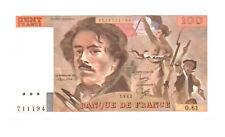 Billets de 100 francs français sur Delacroix