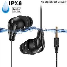 AGPTEK Waterproof Earphones Swimming Sport In-Ear Coiled Earbuds Headphone Black