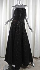 CARMEN MARC VALVO Womens Black Lace Strapless A-Line Formal Gown Dress US 0