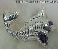 """""""Catch of the Day"""" AMETHYST 2"""" TUNA FISH STERLING SILVER 925 BROOCH / BROACH"""