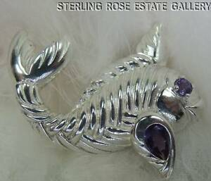 """""""Catch of the Day"""" AMETHYST 2"""" TUNA FISH STERLING SILVER 0.925 BROOCH pin BROACH"""