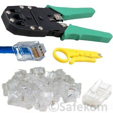 RJ45 Cat5e Cat6e Network Ethernet Cable Crimping Crimper Tool + 20 End Connector