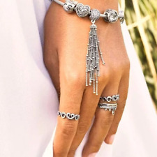 Enchanted Tassel Pendant Charm 925 Solid Sterling Silver Pave Dangle Bead