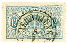 1881-95 Sweden Official Stamp #O18 12o blue perf 13, Used Vf+, H