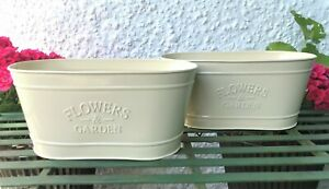 2 X French Vintage Style Metal Planter Trough Small Plant Pot Flowers & Garden