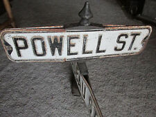 OLD Cast Iron Powell St & Peladeau Auto Traffic Sign Oakland Ca Advertising USA