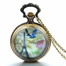 French Tower Bird Design Round Pocket Watch Necklace Thanksgiving Day Gift