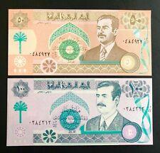 Iraq 1991, UNC Banknote (2 notes): 100+50 Dinars - Original banknotes RARE