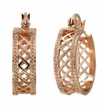 Diamond Accent Checkerboard Hoop Earrings Pink Gold Plated