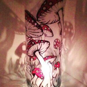 ONE Tall glass Candle Holders Hand Paint Tea Light dinner table light MUSHROOM.