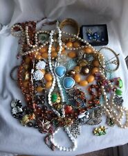 Vintage Antique Jewellery Lot Bead Necklace Peking Glass Silver Brooch Earrings