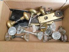Vintage, Box Of Glass & Brass Door Knobs & Other Door Items- Wt. Ten Pounds.