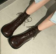 Womens New Fashion Leather Round Toe Lace Up Zipper Combat Ankle Boots Shoes IEC