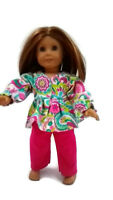 Flannel Pajamas 18 in Doll Clothes fits American Girl Dolls Floral Paisley