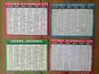 Lot de 4 Anciens minis calendriers de poche Loterie Nationale
