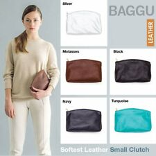 BAGGU HANDMADE LEATHER CLUTCH NATURAL MILLED LEATHER BRASS ZIPPER TURQUOISE S