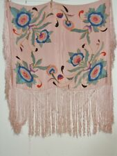 1930's Hand Painted Pink Silk Crepe Piano Shawl w Hand Knotted Fringe