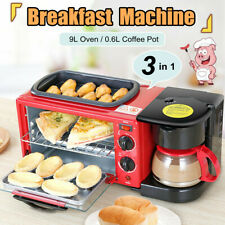 Multifunction 3 in1 Breakfast Machine Toaster Oven Electric Fry Pan Coffee