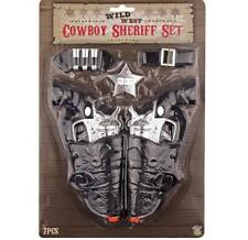 TOY TWIN HOLSTER SILVER GUN KIDS COWBOY PISTOL SET + BELT CLIP, SHERIFF'S BADGE