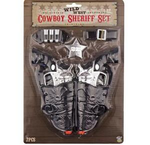 TOY TWIN HOLSTER SILVER GUN KIDS COWBOY PISTOL SET + BELT CLIP, SHERIFF'S BADGE