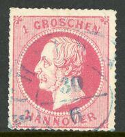 Germany 1864 Hannover 1gr Rose SG # 37 VFU G181