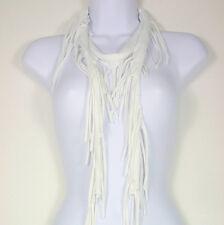 White Fringe T Shirt Scarf Retro Scarves Fringe Hippie Scarf Cotton Fringe Scarf
