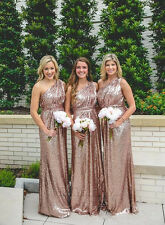 Rose Gold Sequins Bridesmaid Dresses Long Formal Prom Party Evening Ball Gowns