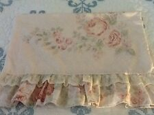 1 Vintage Springmaid Pillowcase Pink Peach Cabbage Rose Ruffle Cottage