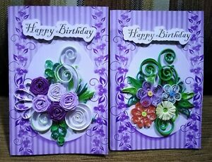 2 PCS 3D Birthday Card Colorful Handmade Paper Quilling Greeting Card Lot Cute