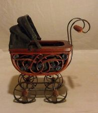 "Miniature baby carriage wood and metal 10"" x 11"" Old Fashion Style"