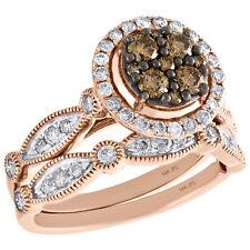 14K Rose Gold Brown Diamond Bridal Set Flower Engagement + Wedding Rings 1 Ct